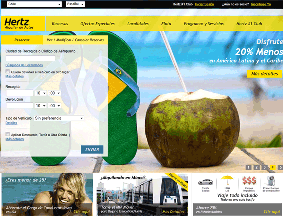 Hertz rent a car website viewed from Chile