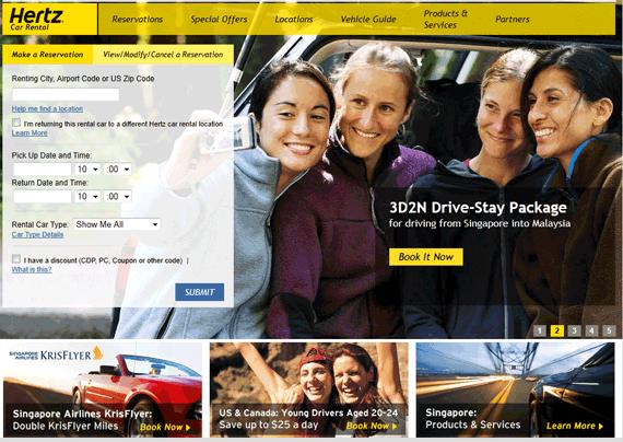 Hertz rent a car website viewed from Singapore