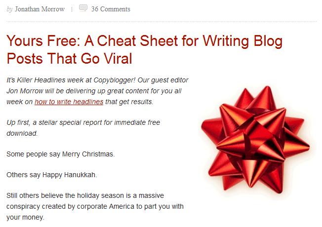 Copyblogger.com Great Content Example