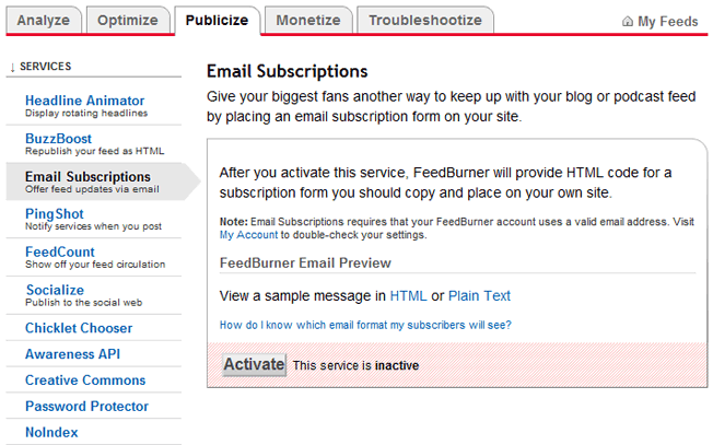 feedburner email subscriptions activation