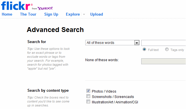 advanced and alternative search engines flickr