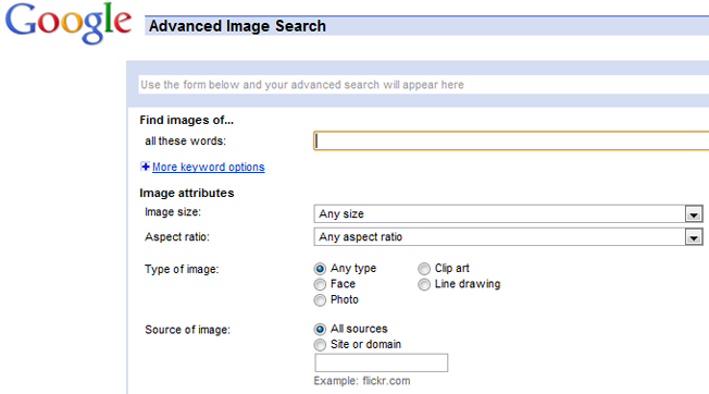 advanced and alternative search engines google image search