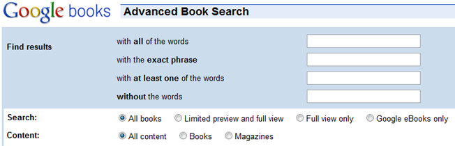 advanced and alternative search engines google books
