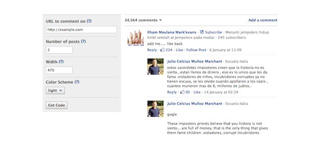 Facebook commenting plugin