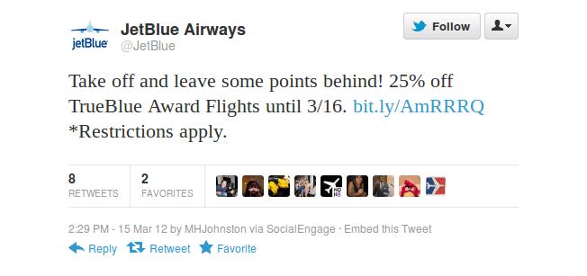 jet blue awards tweet
