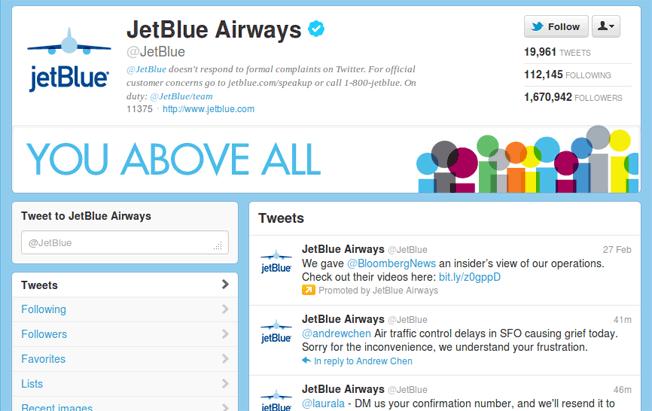 Jet Blue twitter profile 2012