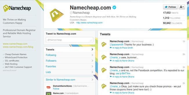 namecheap twitter account 2012