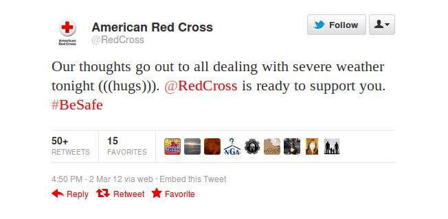 a red cross tweet