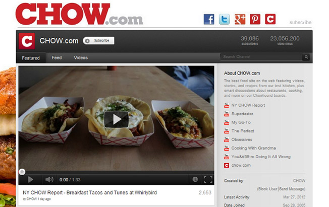 CHOW.com YouTube Branding