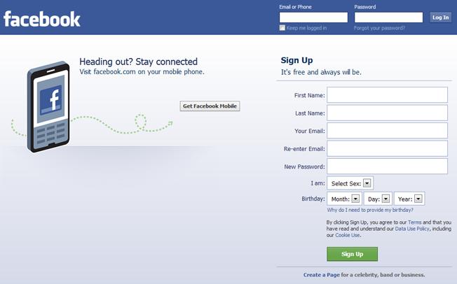 facebook homepage in 2012