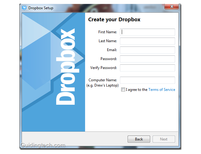 Dropbox Signup on Desktop