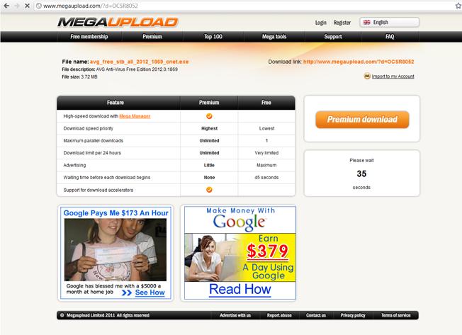 megaupload download page