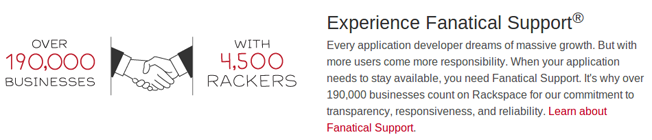 190,000 businesses use rackspace