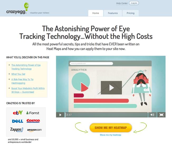 crazyegg homepage explainer video