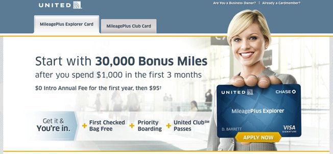 united airlines landing page