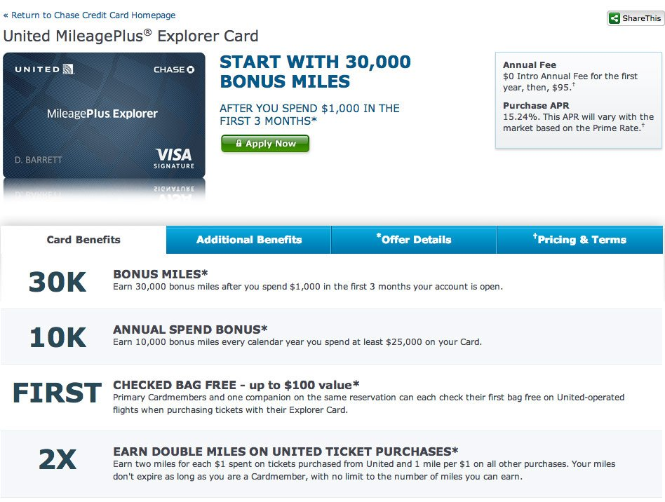 united mileage card
