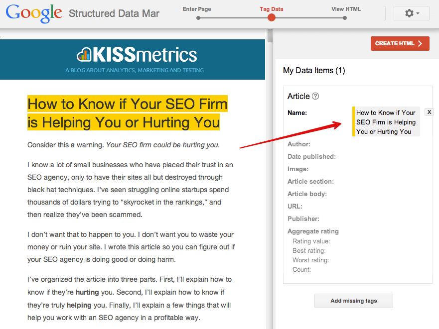 structured data markup schema for SEO