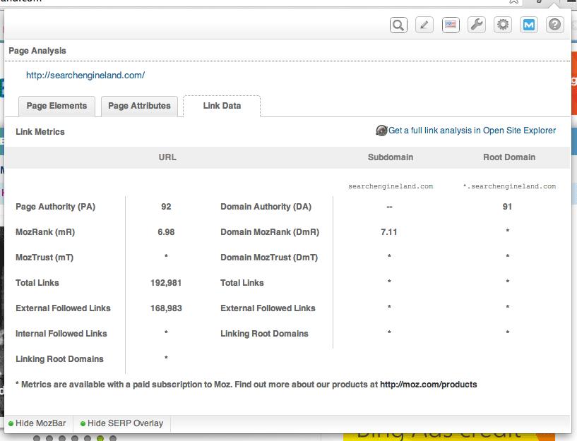 mozbar free seo tool link data tab