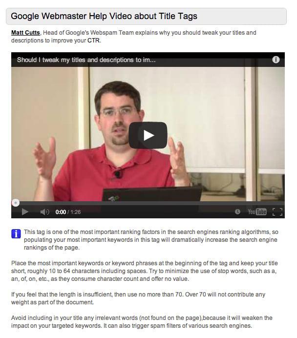 google webmaster help video
