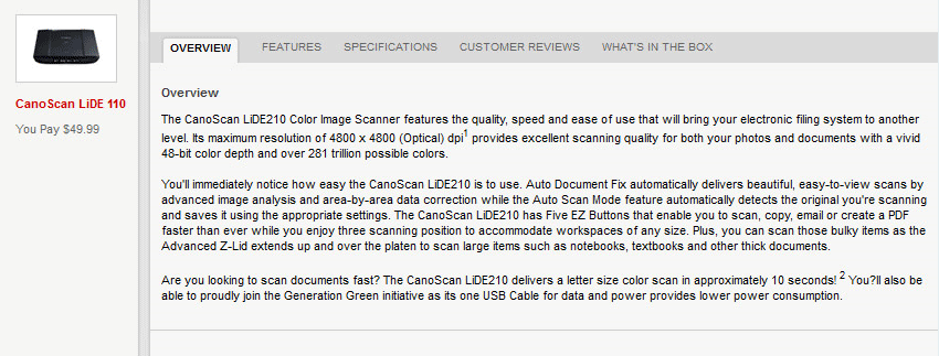 canon product description