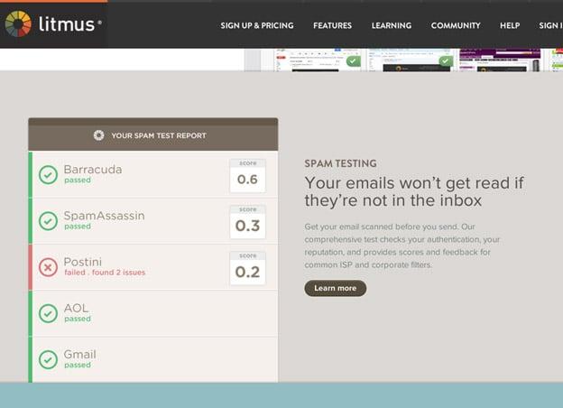 litmus web page