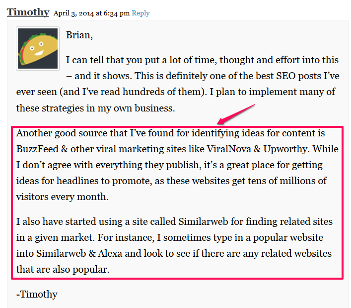example comment to gain backlinks