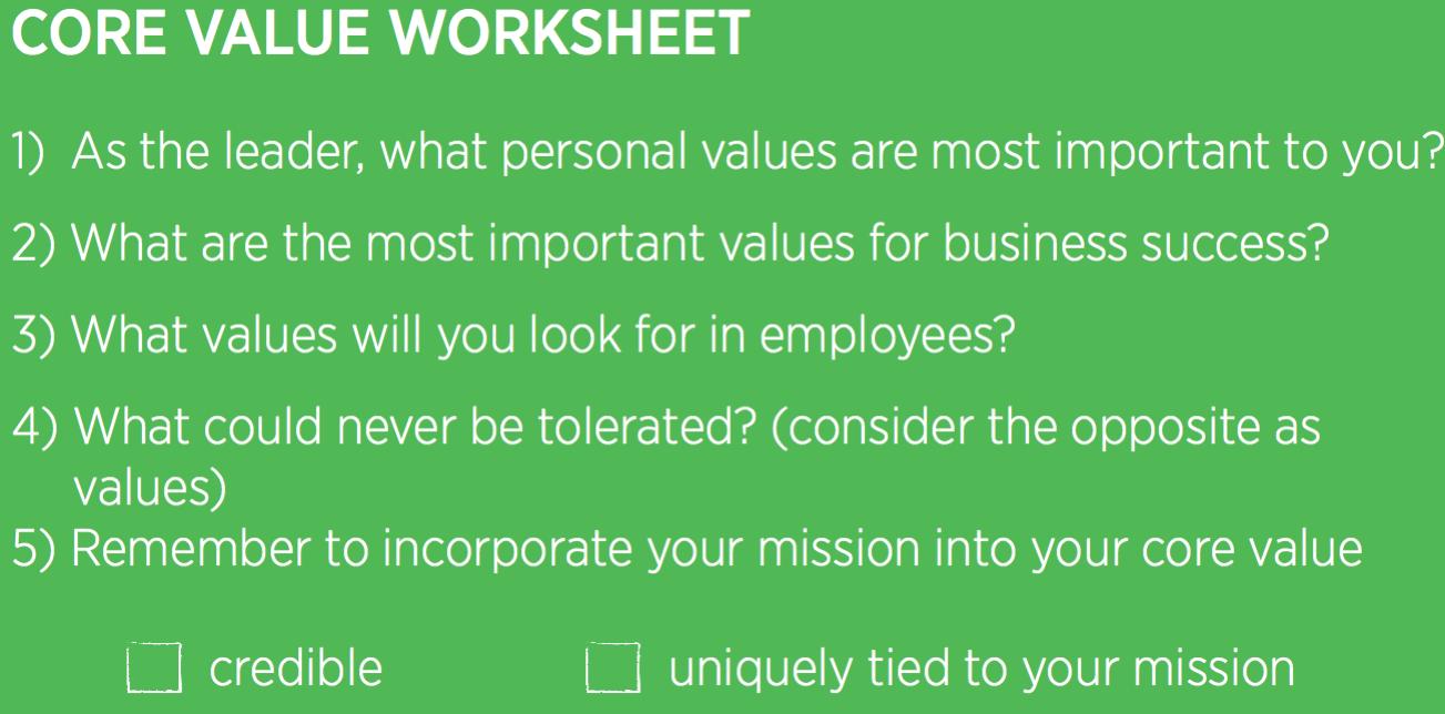 core company value worksheet