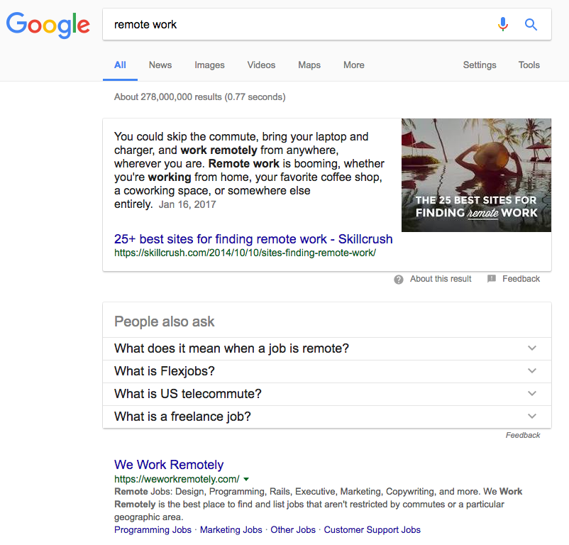 advanced SEO techniques  google example