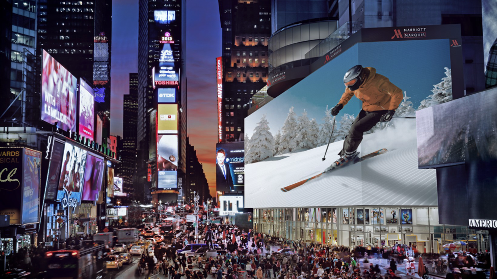 enhanced offline digital marketing - LED times square billboard example