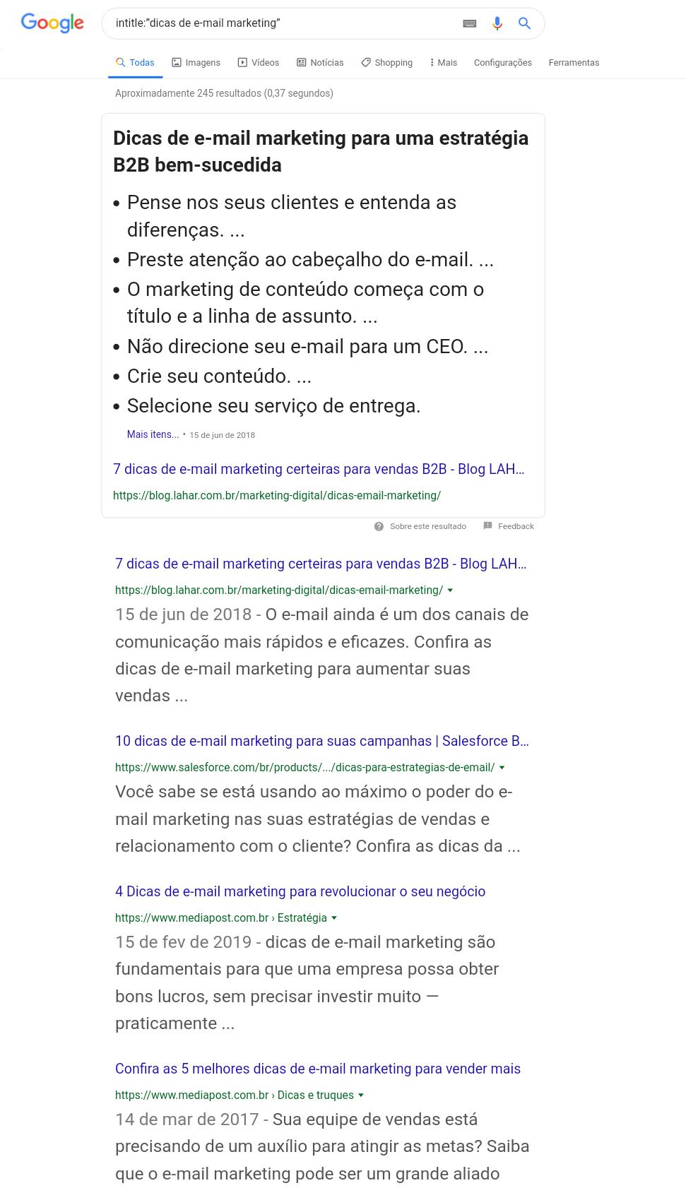 página de resultados do google para dicas de email marketing