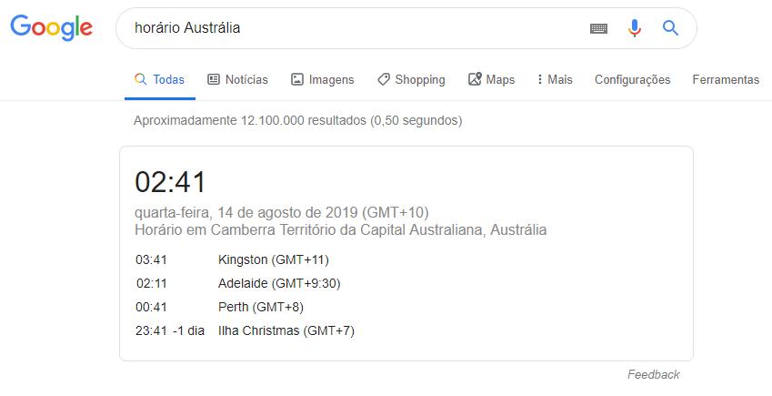 pesquisa de horário mundial no google