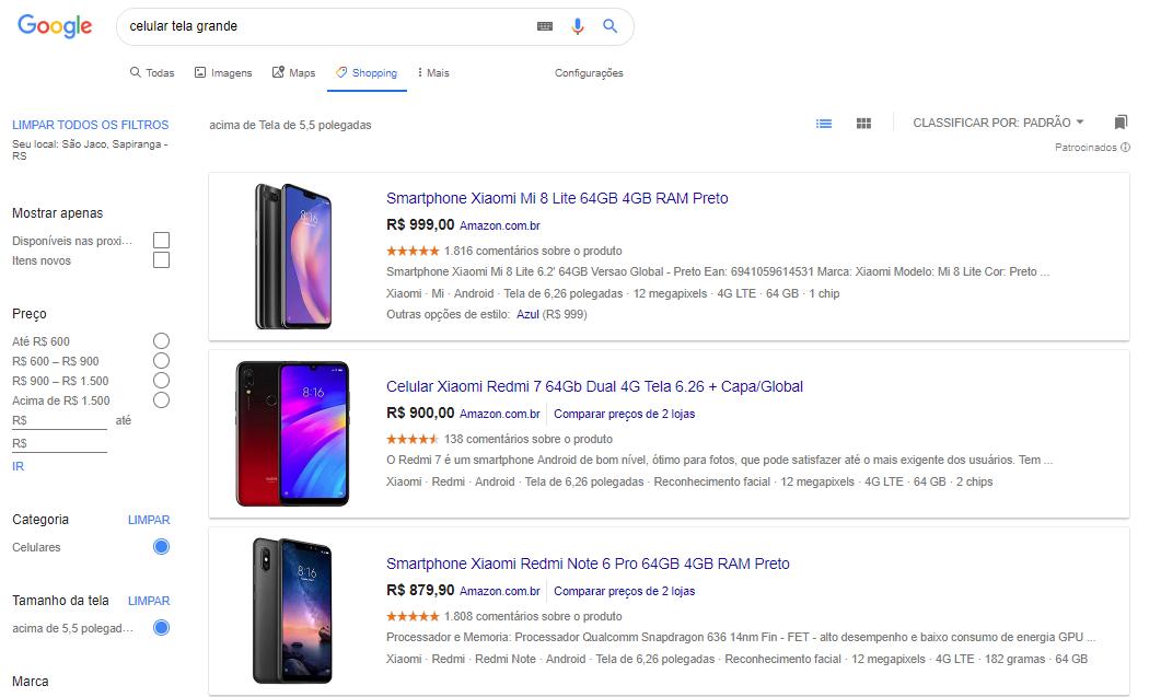 resultados de pesquisa no google shopping