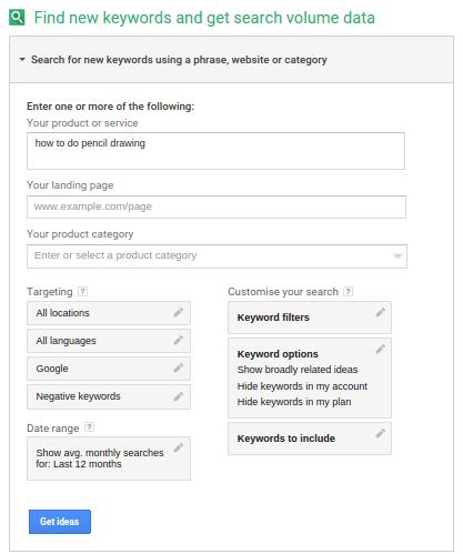 desenho a lapis google keyword planner
