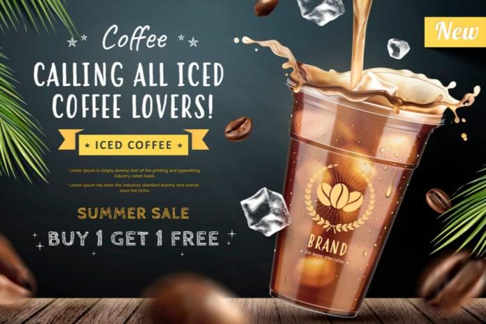 exemplo de anúncio publicitário de café