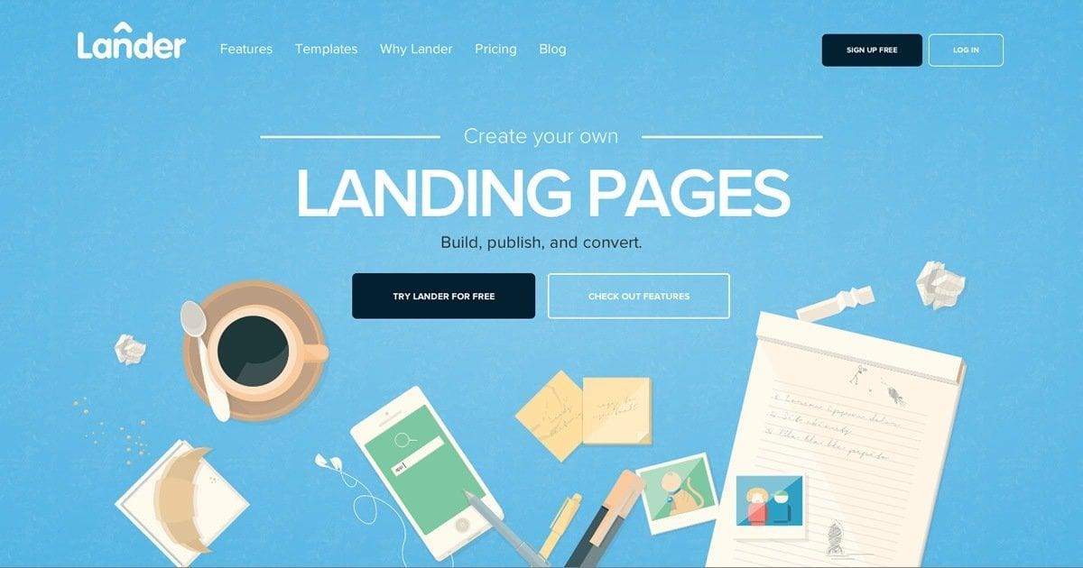 exemplo de landing pages lander