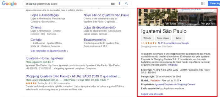 exemplo do google meu negocio