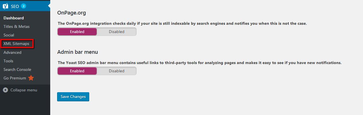 blog XML sitemaps screenshot