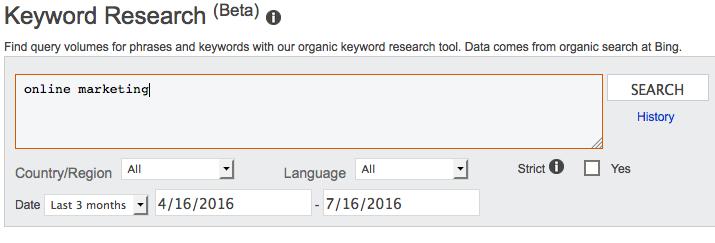 Bing Webmaster Palavra-chaves