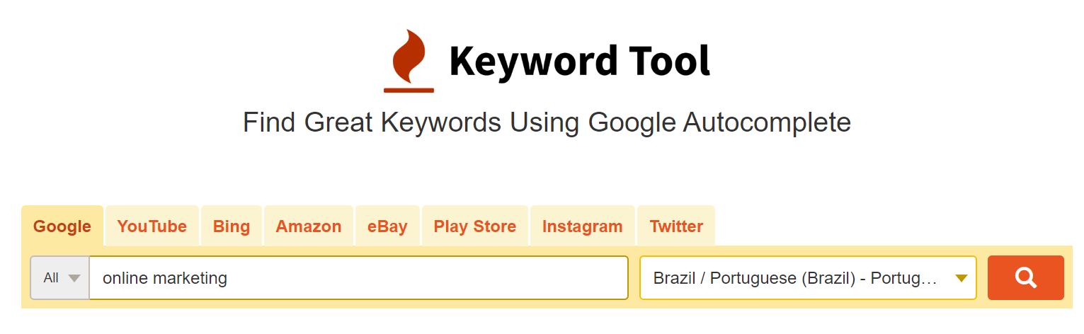 busca de palavra-chave na ferramenta keyword tool