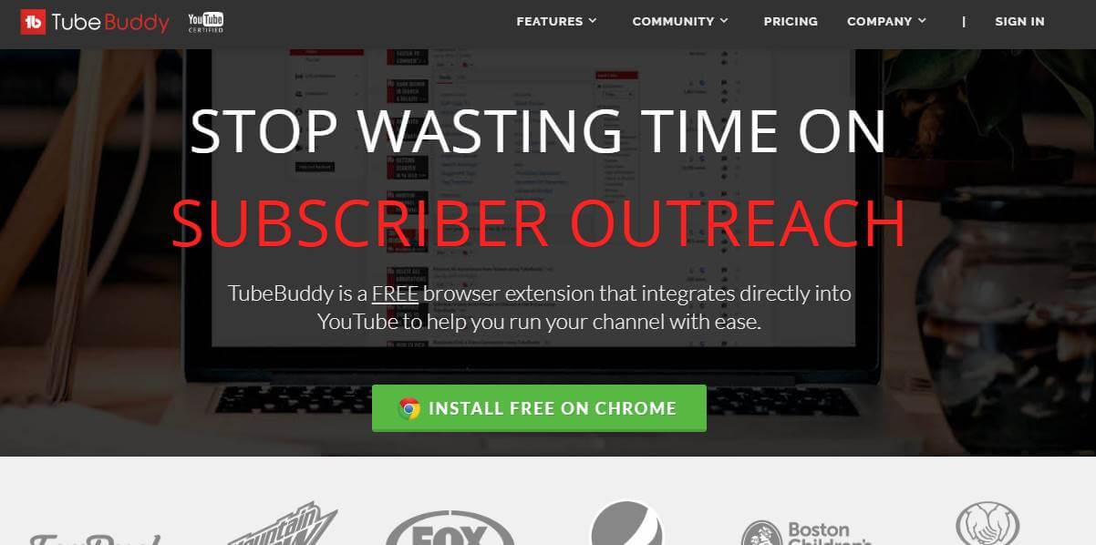 captura de tela de pagina inicial site TubeBuddy