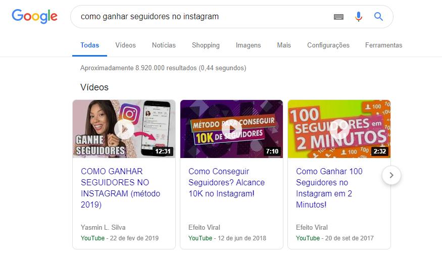 captura de tela de pesquisa na internet sobre como ganhar seguidores no instagram