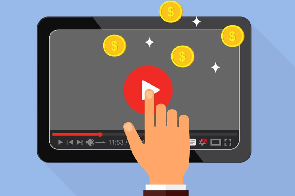 ilustraçao de mao masculina iniciando video no youtube em tablet