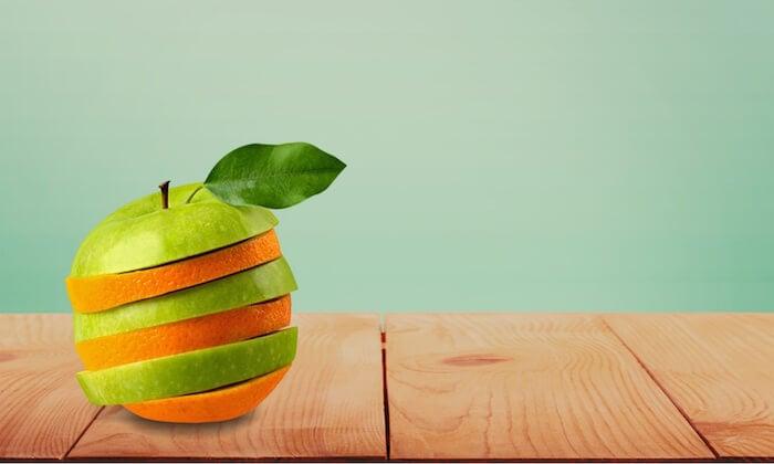 mistura de maçã e laranja