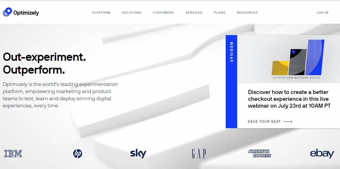 página inicial da plataforma de teste a/b optimizely