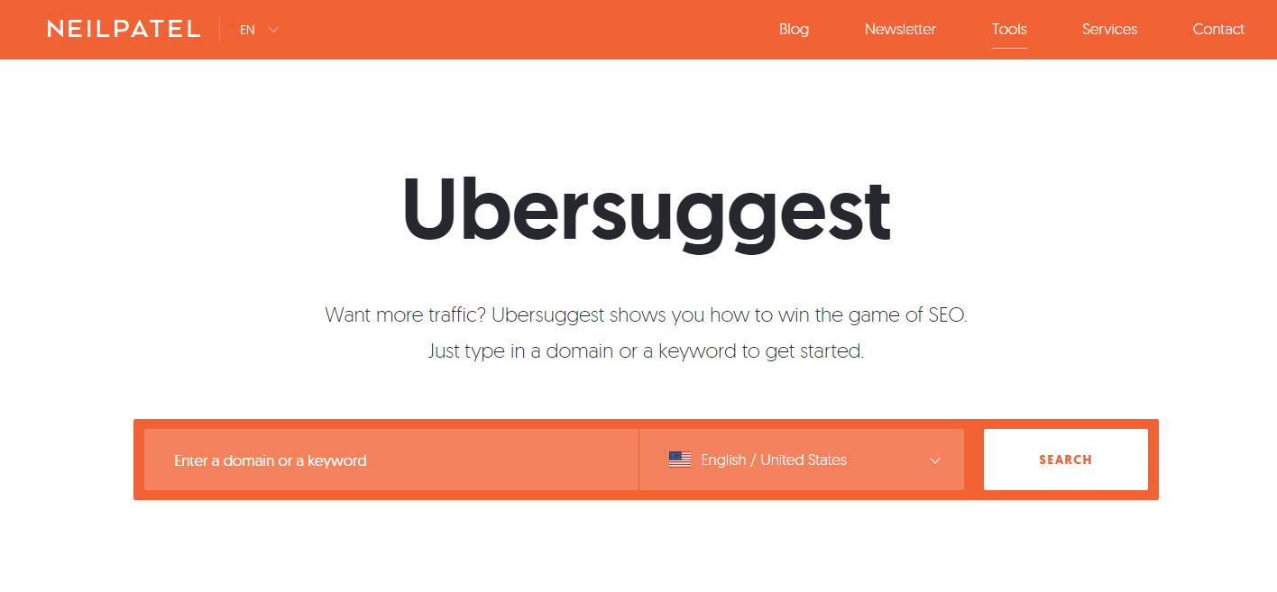 pagina inicial ubersuggest