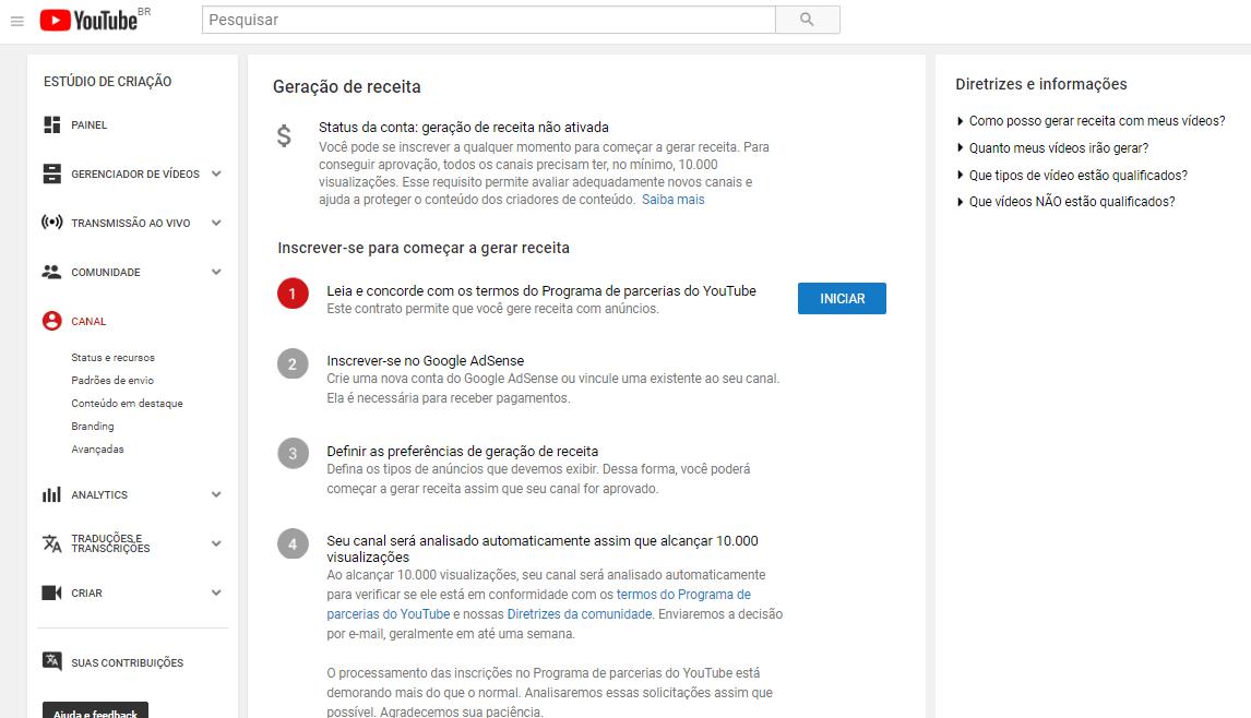 pagina no youtube indicando ganhar dinheiro com youtube
