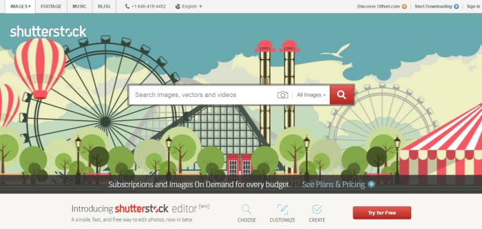 shutterstock como exemplo