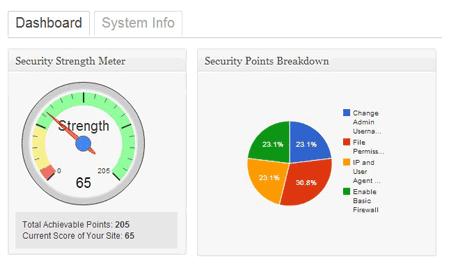 grafico de site com porcentagens de segurança