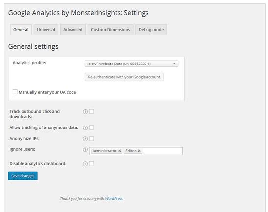 painel de configuraçoes gerais em google analytics by monsterInsights