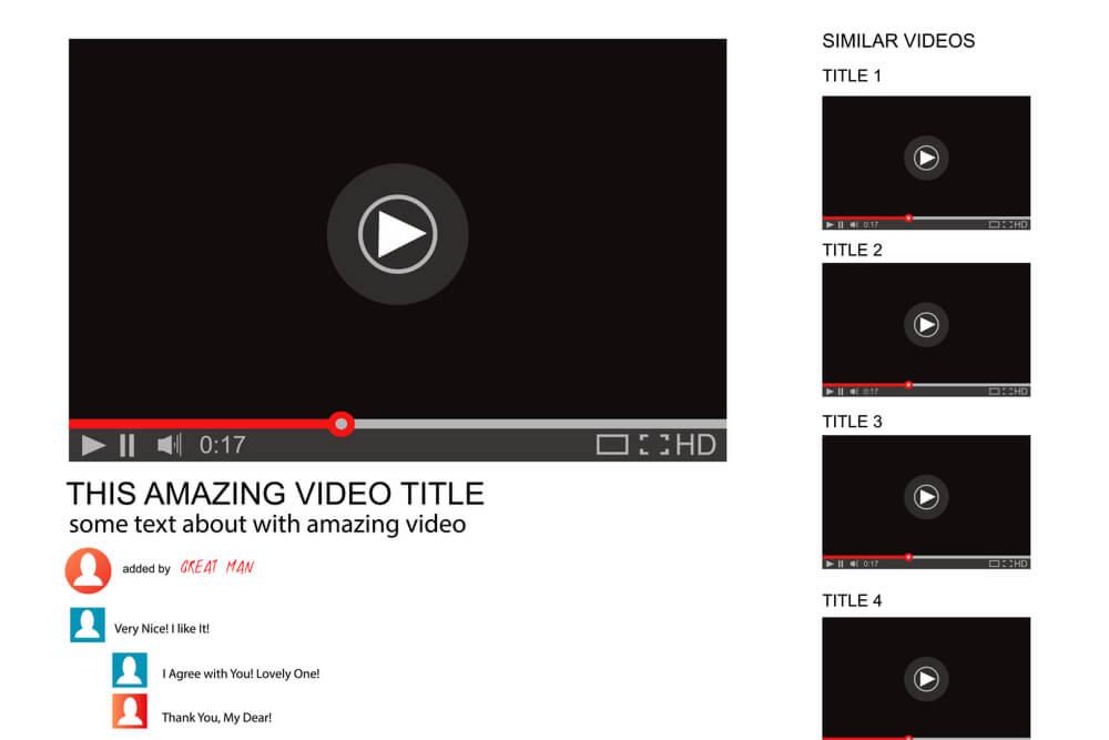 ilustraçao de pagina do site youtube com video em tela